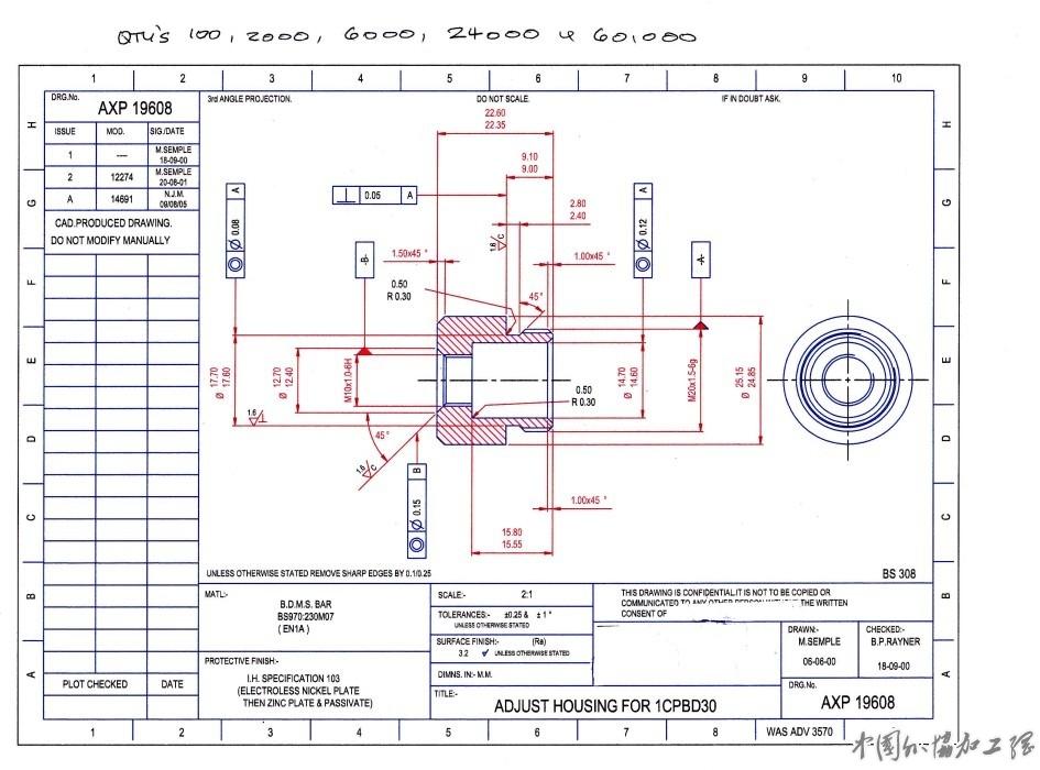 现在急需 BS970 230M07 EN 1A的零件,如图纸所示,表面化学镀镍并且镀锌。请针对数量2000,,6000,24000,60000只报价(RMB),注明包装,交货期,是否含到港运费。 急!!!